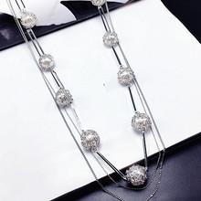Dominated Women Fashion Imitation Pearl Multi-level Decorative Necklace Temperament Long Sweater Chain(China)