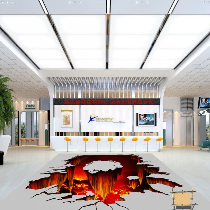 Free Shipping lava volcano floor painting wallpaper shopping mall street decoration self-adhesive PVC floor wallpaper mural<br><br>Aliexpress