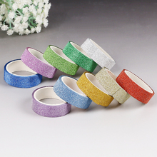 10PCS Glitter Scrub Sticky Paper Masking Adhesive Tape Label Craft Decorative DIY Silver Golden Glitter Masking Tape
