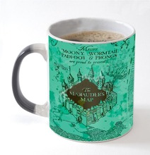 mugs marauder's map mug heat reveal transforming mug morph beer  coffee magical tea  heat change colour