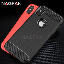 NAGFAK Luxury Carbon Fiber TPU Soft Silicone Cases For iphone X Phone Case Back Protector shell Cover For iphone X Case Coque(China)