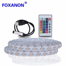 Foxanon USB DC 5V 5050 2835 RGB Led Strip 1M 2M 3M 4M 5M 60led/M Waterproof Flexible Light IR Remote for TV bedroom Christmas