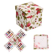 Fabric Rose Foldable Storage Box Thread Threader Needle Storage Box Measure Scissor Bag DIY Sewing Tools Storage Accessories