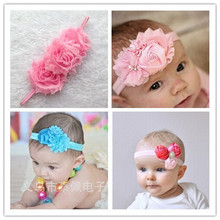 shabby flower headband  pearl chiffon flower hairband    Felt Flower headbands