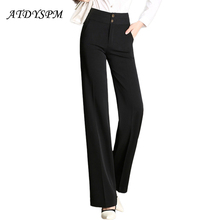 2017 New Plus Size S-4XL Women's Pants  Female Wide Leg Office Pants High Waist Lady Straight  Loose Black OL Trousers