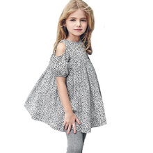 Kids Baby Girls Summer Dress Elegant Off Shoulder Leopard Princess Party Dress Sleeve Children Girl Sundress(China)