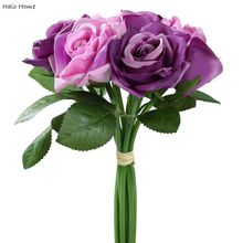 1 Bunch Silk Artificial Flower Purple Rose Wedding Public places Festival Celebrations Party Garden Home Decor(China)