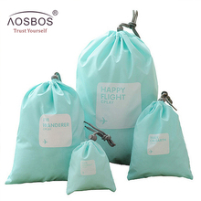 Aosbos 4pcs/set Waterproof Travel Cosmetic Bag Casual Nylon Storage Organizer Pouch Wholesale Makeup Bags Small Toiletry Kit(China)