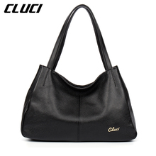 CLUCI Luxury Women's Handbags Genuine Leather Fashion Black Red Blue Purple Hobo Soft Casual Totes Top-handle Shoulder Bags(China)