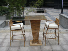 3pcs All Weather Waterproof Outdoor Garden Resin Wicker Bar Set