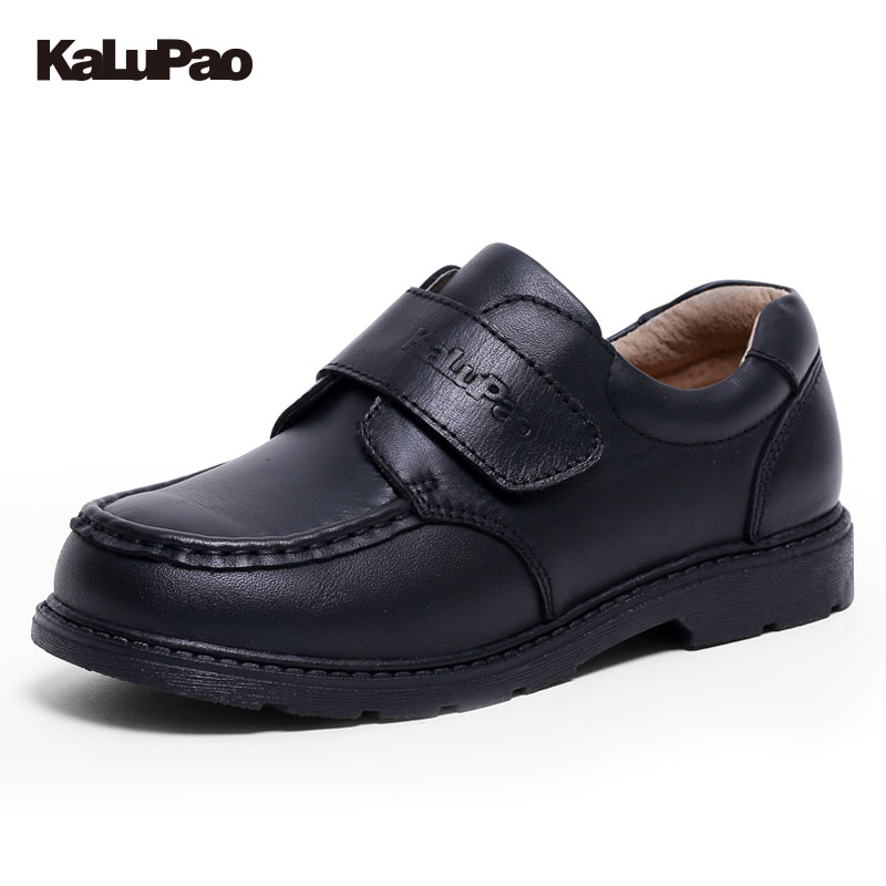 KAlUPAO New Children Leather Shoes For Boys Wedding Dress Shoes Black Casual Flat Dancing Lace Up Genuine Leather School Student<br>