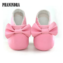 2017 PU Leather Newborn Baby Girls Princess bowknot Mary Jane Big Bow Prewalkers Soft Bottom Shoes Crib Babe Ballet Dress shoes(Chile)