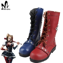 Batman Arkham Knight Harley Quinn cosplay boots sexy women boots high boots Halloween cosplay accessory Harley Quinn boots(China)