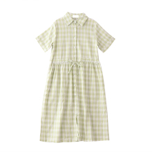 2017 Japanese Fashion Summer Women Casual Dress Literary Mori Girl Slim Linen Dress Korean Plaid Loose Bandage Polo Shirt Dress
