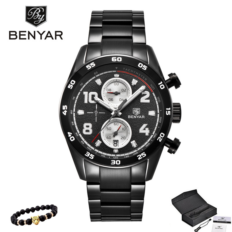 2018 BENYAR Mens Watches Top Brands Business Quartz Watches Black Men Stainless Steel Chronograph Water Proof Relogio Masculino<br>