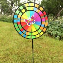 Rainbow Wind Spinner Ground Stake Outdoor Yard Garden Decor Windmill(China)