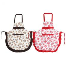 Rose Pattern Bow Apron Dress With Pocket Adult Bibs Home Cooking Apron Restaurant Kitchen Apron Work Dress 2 Pockets