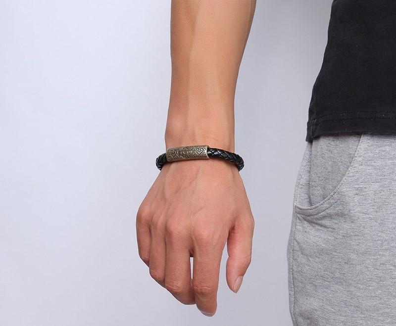 Meaeguet Rock Street Style Vintage Heart I Love U Charm Bracelet & Bangle For Women Men Braid Genuine Leather Rope Chain Jewelry (4)