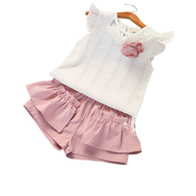 New Summer Children's Sets Child Girls White Clothes Sets Baby Girl Tanks Sportswear Outdoor Vest+Patchwork Shorts Kids Suits