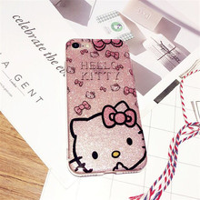 Luxury Silicone Case For iPhone7 7Plus PINK HELLO KITTY Mobile phone Protective Shell Case For iPhone7 Soft Silicone Back Covers