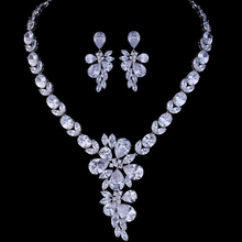 Luxurious Clear Teardrop Big Zircon Jewelry Set Costume Jewellery Christmas Gift For Female(China)
