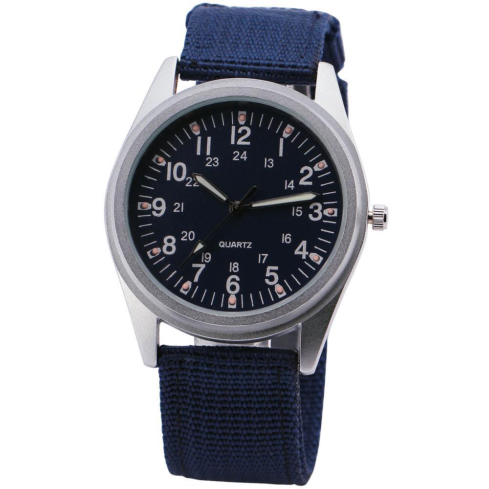 2016 Chic Concise Fashion Sports Men Unisex Quartz Wrist Watch Blue Canvas Band Matting Round Dial Outdoor + GIFT BOX<br><br>Aliexpress