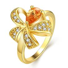 Brand  Champagne Gold colour AAA+ Cubic Zircon Bow Ring For Women Party Wedding Engagement Cute Goldfish Ring Jewelry