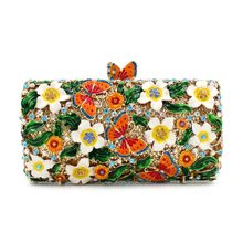 Woman floral butterfly evening bags designer handbags high quality female luxury fashion wedding glitter clutches gift box purse