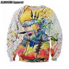 ALMOSUN Naruto Japanese Anime All Over Print Crewneck Pullover Sweatshirts Hipster  Jumper Women Men Plus Size