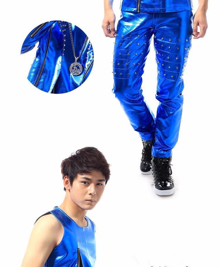 HTB1TX2HXMvD8KJjy0Flq6ygBFXaK - (jacket+pants+vest) men blue rivet suits dancer singer dress performance show nightclub clothing pants Outdoors wear bar party