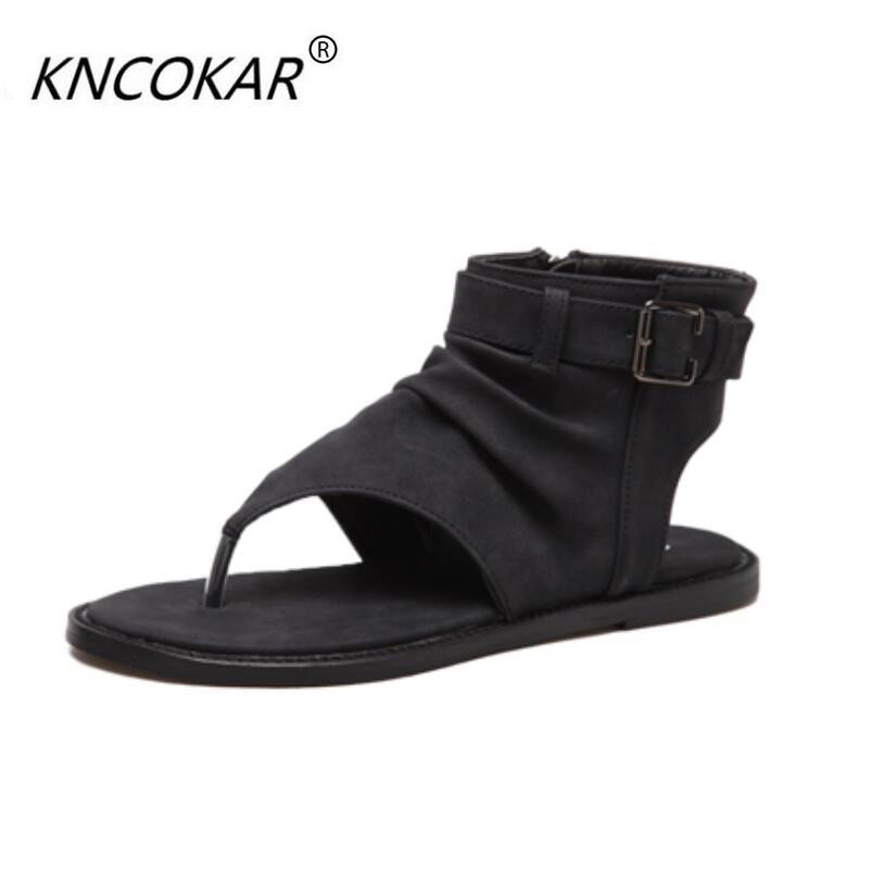 In 2017, the new heat sales of the Roman clip-toe black sandals vintage leather and leather shoes for womens shoes are comforta<br>