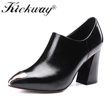 Kickway Brand Shoes Woman High Heels Pumps Stiletto thick Heel Women's dress Shoes metal decoration Pointed Toe Shoes size 34-43(China)