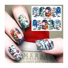 FWC Christmas Nail Sticker Water Decals Nail Art Water Transfer Stickers For Nails 2132(China)