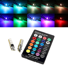 2PCS 5050 SMD RGB T10 194 168 W5W Car Dome Reading Light Automobiles Wedge Lamp RGB LED Bulb With Remote Controller Flash/Strobe(China)