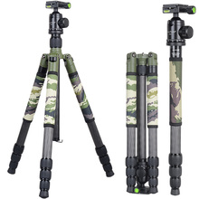 Xiletu T284C+FB1 Green Camouflage Carbon Fiber Tripod For Outdoor Travel Shooting DSLR Digital Camera with Panoramic Ball Head(China)