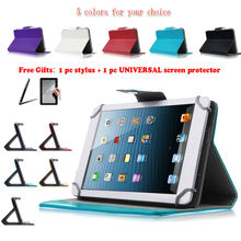 For Ainol Novo 7 Numy/Flame Octa/Venus7 INCH Universal Tablet PU Leather cover case 3-IN-1 Free Stylus+Screen protector