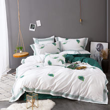 Textile New Product green plants Bedding Set egyptian cotton Bedclothes embroidery Bed Linens Duvet Cover Set Bed Sheet 4/7pcs(China)