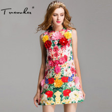 Truevoker Summer Designer Dress Women's Sleeveless Fancy Flower Printed Jacquard Appliques A-Line Resort Dress(China)