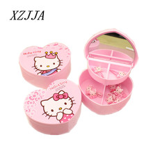 Hello Kitty Heart-shap Cosmetic Jewelry Debris Storage Boxs With Mirror Bijoux Gift Box Case Holder Makeup Tools Table Organizer