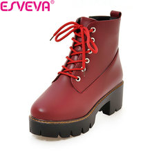 ESVEVA 2018 Women Boots Autumn Spring Shoes Women Square High Heels Ankle Boots Ladies British Black Motorcycle Boots Size 34-39