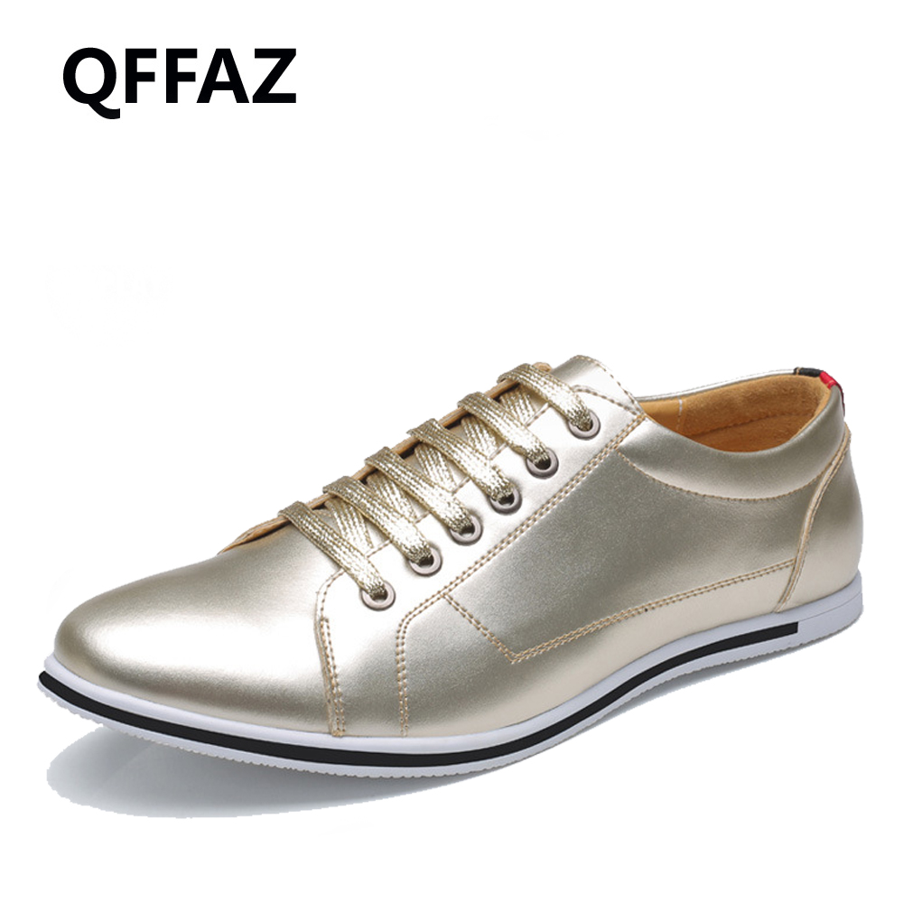 QFFAZ 2018 New Summer Men Casual Shoes High Quality Men Shoes Breathable Lace up PU Leather Shoes Men Big Size 38-50<br>
