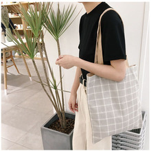 Plaid Shopping Bag Women Fashion Tote Shoulder Bag Handbag 2017 New Cotton Canvas Laptop School Books Casual Heavy Duty Bags