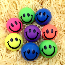 6Pcs/Set Stress Ball Lovely Smile Face Print Soft PU Rubber Bouncy Toy Balls Squeeze Ball Hand Wrist Exercise Stress Relief