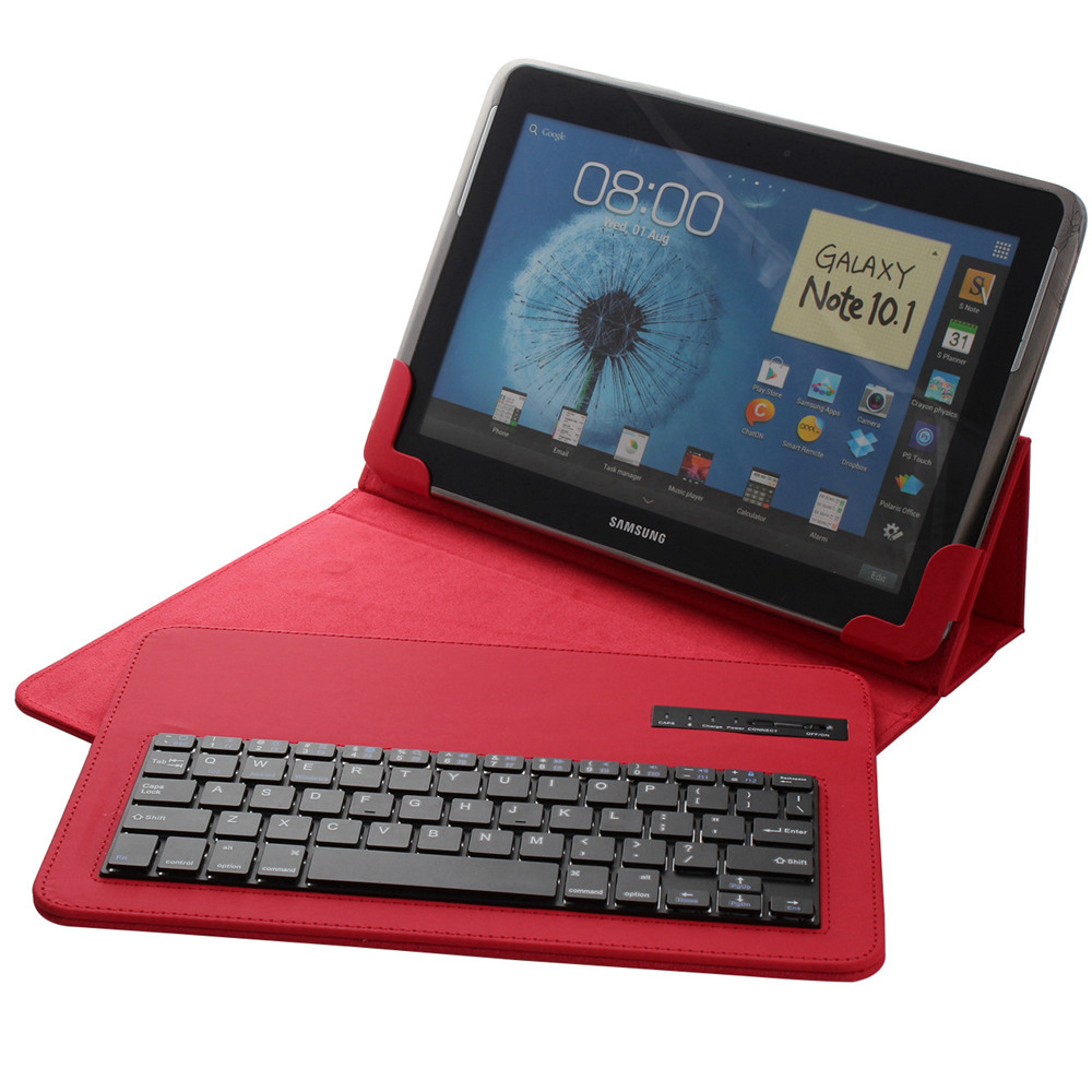 Universal 9-10.1Wireless Bluetooth Keyboard Leater Case Removable Stand Case for Appel iPad with IOS Android Window Tablet Case<br>