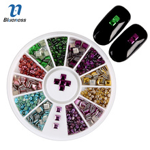 Blueness 3D Nail Art Decoration Round/Square Plating Alloy Mix Color DIY Nail Tips Studs Fashion Manicure Nail Tools ZP009