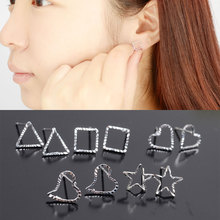Fashion multi Variety Simple 925 silver flower Heart love triange Stud Earrings Wholesales Factory Direct Sales Jewelry