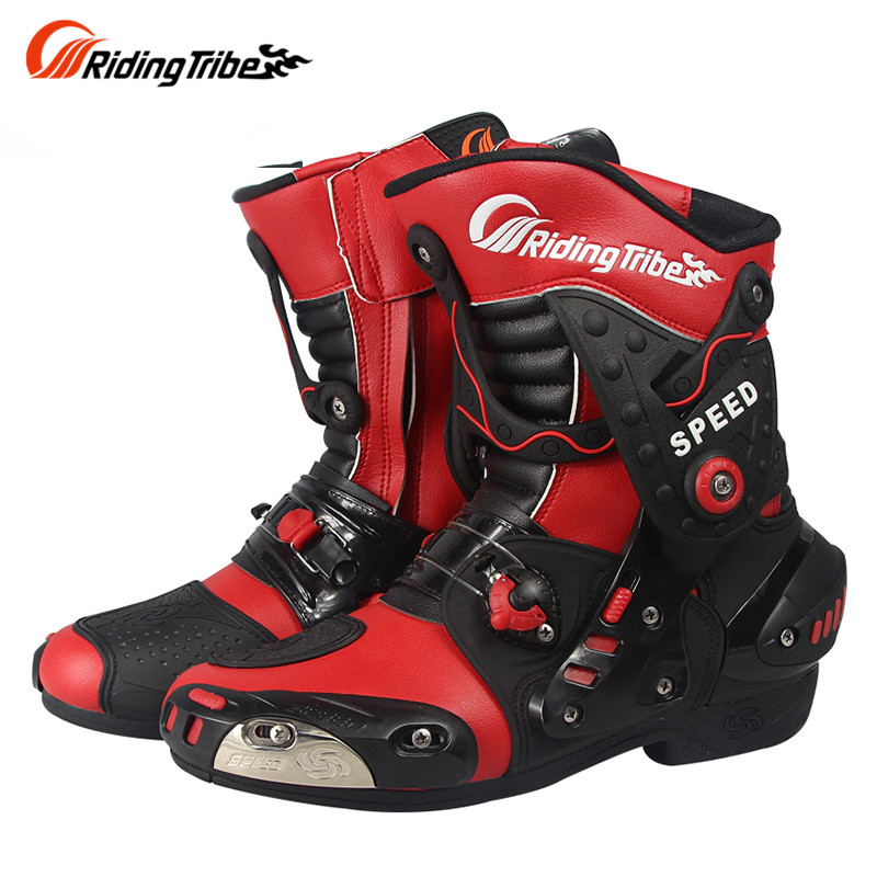 Riding Tribe SPEED BIKERS Motorcycle Boots Moto Racing Motocross Off-Road Motorbike Shoes BLACK RED WHITE<br><br>Aliexpress