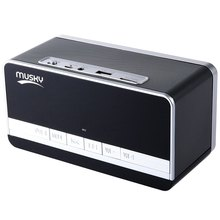 Black Mini Portable Speaker MUSKY DY - 27 Bluetooth Speaker with LED Display Clock Alarm FM Radio Support AUX TF Card Playing