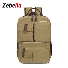 Zebella Vintage Laptop Backpack Men Canvas Back pack Male Travel Bag School Bags For Teenage Boys mochila masculina 2017