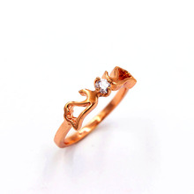 Fashion Jewelry Wholesale Titanium Rose Gold Color Inlaid Hearts and Arrows AAA Cubic Zirconia Rings Guardian Angel LR490010(China)